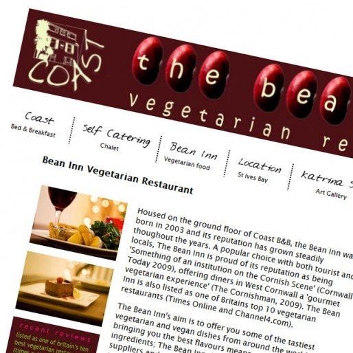 Web design for a B&B and restaurant in Cornwall