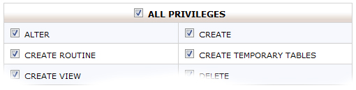 Selecting all privileges in cPanel