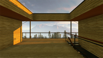 Outside of house and mountain view created using our CAD services