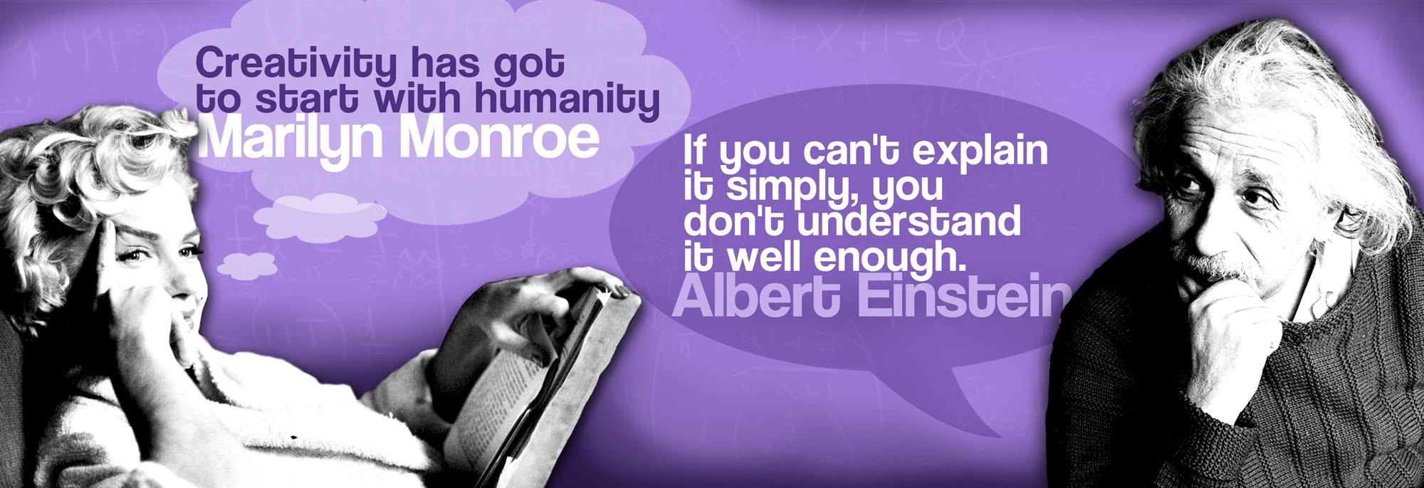 Creativity social media image Marilyn Monroe and Albert Einstein