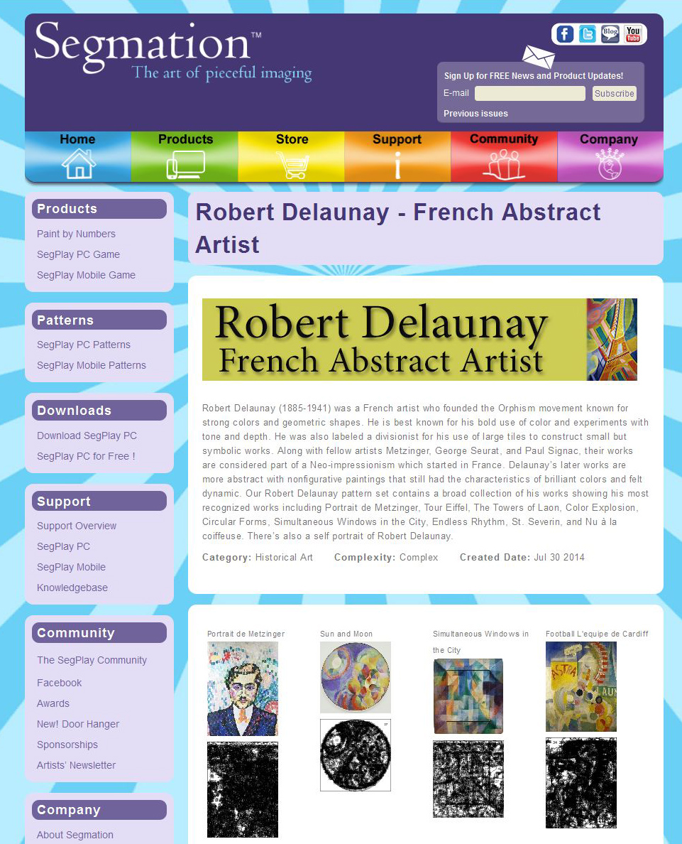 French abstract artist pages on Segmation