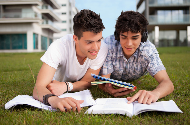 French education outside with two students image
