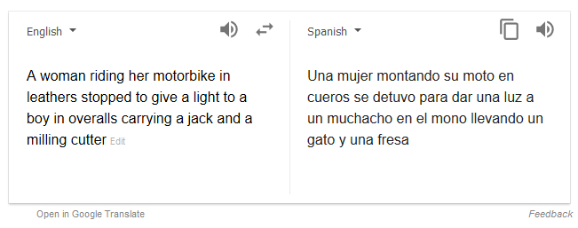 Different in spanish google translate