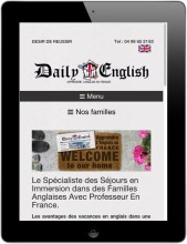Daily English - French site on a tablet