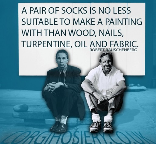 Quotagraphic from Robert Rauschenberg for Corgi Socks