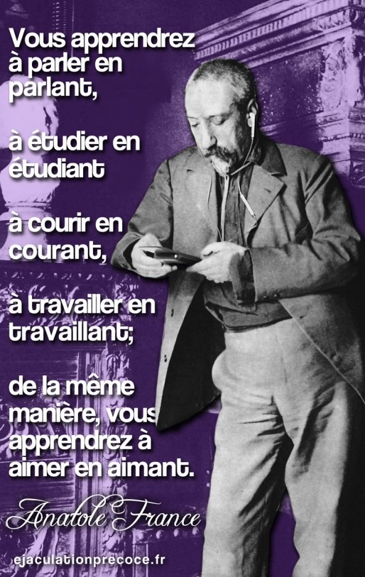 Quotagraphic in French Anatole France quote and image social media