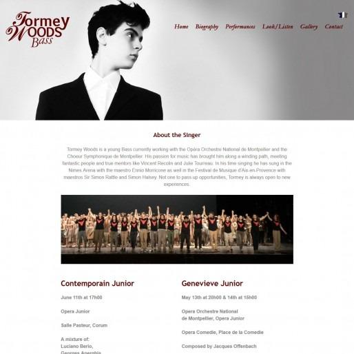 Tormey Woods - Opera Singer responsive multilingual web design Montpellier